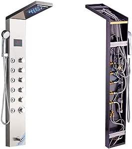 SHENGSHIYUJHIA Mampara de Ducha LED de Acero Inoxidable Columna de Ducha de Pared Sistema de Temperatura Pantalla Digital pulverizador de Masaje rotativo, Plateado: Amazon.es: Hogar
