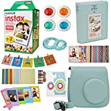 9 in 1 Fujifilm Instax Mini 9 8 Instant Camera Accessories Bundle - Fujifilm INSTAX Mini Instant Film Twin Pack 20 Shoots - Blue Case, Selfie Lens, Colored Filters, Frames, Stickers and More