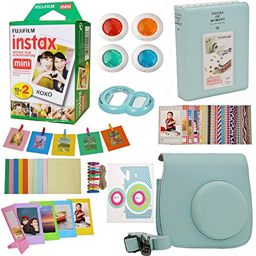 9 in 1 Fujifilm Instax Mini 9 8 Instant Camera Accessories Bundle - Fujifilm INSTAX Mini Instant Film Twin Pack 20 Shoots - Blue Case, Selfie Lens, Colored Filters, Frames, Stickers and More by Abesons