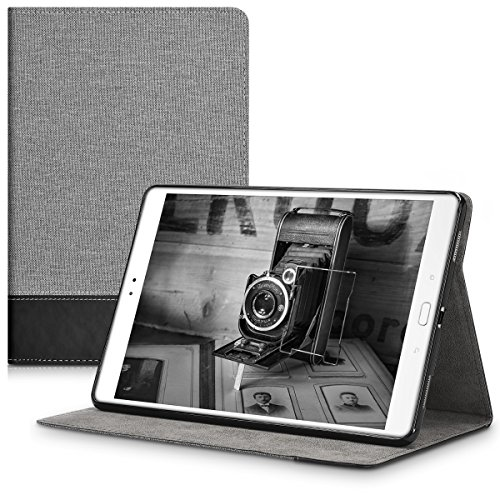 kwmobile Case for Asus ZenPad 3S 10 (Z500M) - PU Leather and Canvas Protective Cover with Stand Feature - Grey/Black