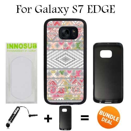 Triangle Art Aztec Geometric Tribal Custom Galaxy S7 Edge Cases Black Rubber Bundle 2In1 Comes With Custom Case Universal Stylus Pen By Innosub