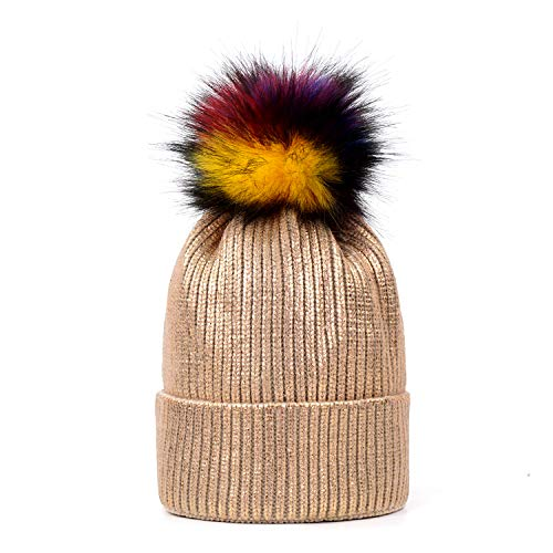 litter Beanie Hat Faux Fur Pom Pom Bobble Hat Rose Gold Skull Beanie ()