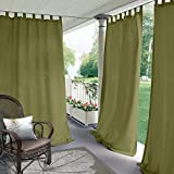 Cololeaf Indoor/Outdoor Tab Top Curtain Water Resistant for Patio| Porch| Gazebo| Pergola | Cabana | Dock| Beach Home - Olive 84W x 84L Inch (1 Panel)