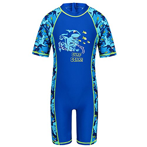 TFJH Kids Boys Swimsuit UPF 50+ UV Sun Protective One-Piece Shark Fish 3-4Years S221