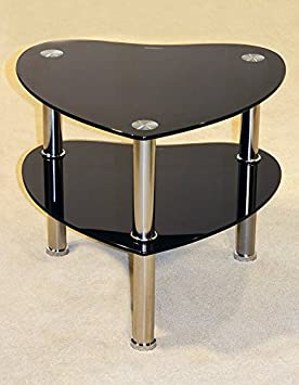 Heart Shaped Double Shelf Side Table Available In Black And