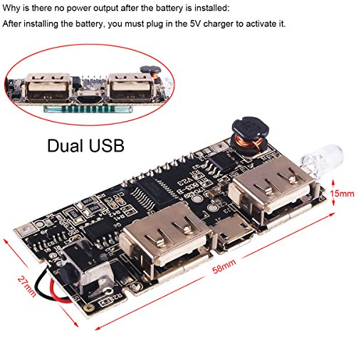 4pcs Dual USB 5V 1A 2.1A Mobile Power Bank 18650 Battery Charger PCB Module Board with Protection DIY USB Power Bank Board by MakerFocus (Image #4)'