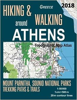 Hiking Walking Around Athens Greece Topographic Map Atlas 1 50000