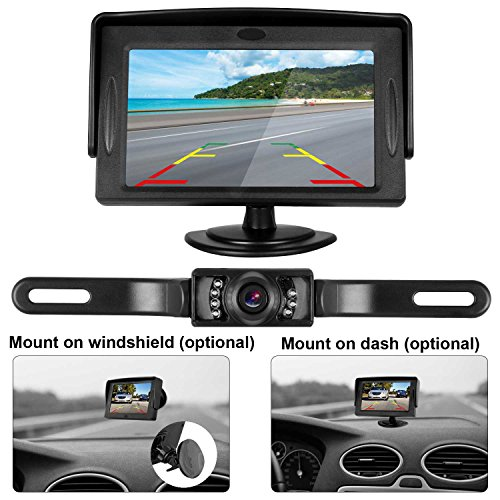 Rear Camper - iStrong Backup Camera System 4.3'' Monitor for Truck/Car/Pickup/Camper/SUV Mount Windshield Optional IP68 Waterproof Connecting Single Power Reversing/Driving Use Night Vision