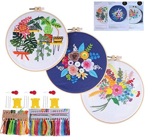 3 Sets Embroidery Starter Kit Embroidery Kit for BeginnersAll Tools Embroidery Starter Kits for Adults Cross Stitch Kits for Beginner Hand Embroidery KitsFlower and Plants Patterns