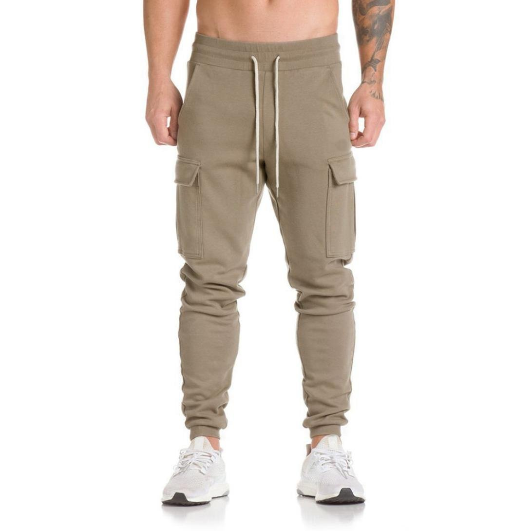 Men's Trousers Harem Sweatpants Slacks Casual Jogger Dance Sportwear Baggy (Khaki, L)