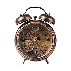 TORCH Twin Bell Metal Gear Desk Clock Vintage Bronze Roman Numeral Alarm Clock