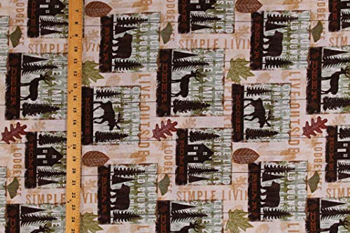 Cotton Moose Deer Bears Lodge Life Cabin Northwoods Camping Wildlife Animals Simple Living Cotton Fabric Print by The Yard (D362.27) (Print Wildlife Fabric)