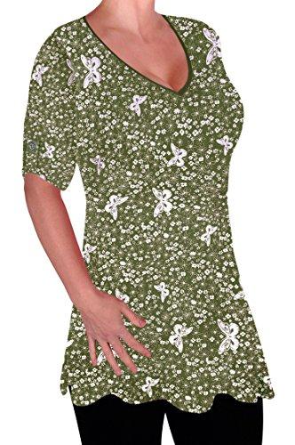 Eyecatch V col Plus dames Chemisier Kaki Aspen en Imprim Dcontracte longue Flared Tunique Femmes chemisiers Size FXrFxqv0