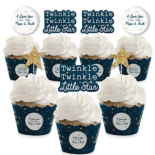 (Twinkle Twinkle Little Star - Cupcake Decoration - Baby Shower or Birthday Party Cupcake Wrappers and Treat Picks Kit - Set of 24)