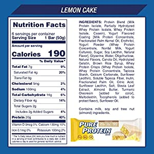 Pure Protein Bars High Protein Nutritious Snacks To Support Energy Low Sugar Gluten Free Lemon Cake 176oz 12 Pack by AmazonUs/SDAB9