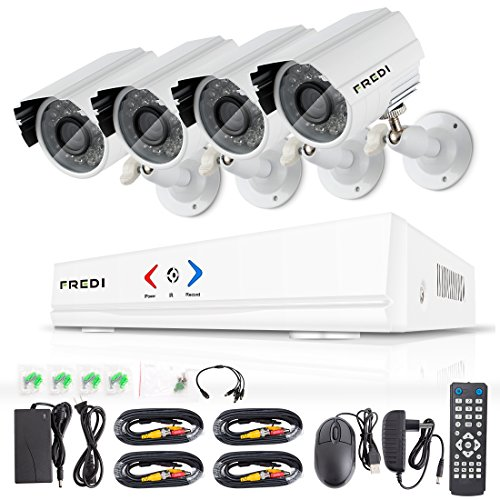 FREDI 4CH Security Camera System AHD 720P 1MP DVR Video Surveillance System with Indoor/outdoor Bullet Camera and IR Night Vision/Motion Detection/Loop Video (Without Hard (Cms Dvr Software)
