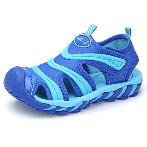 aa55073a66370 BTDREAM Boy s and Girl s Sports Sandals Breathable Closed-Toe Summer Outdoor  Athletic Beach Shoes Blue