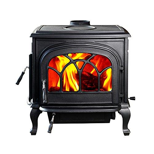 Pipe Wood Burning Stove Installation - HiFlame 2,200 Square Feet cast iron wood burning stove HF737U STALLION Paint Black
