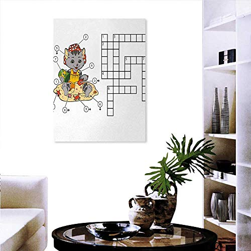 Warm Family Word Search Puzzle Ready to Hang Home Decorations Wall Decor Crossword Game Children Cute Cat on Beach Building Sand Castles Art Stickers 32