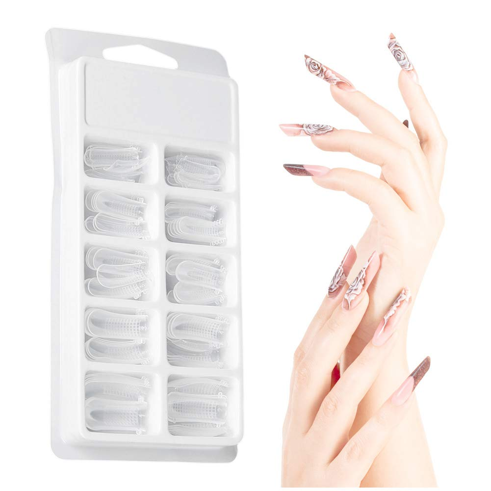 Nail Tips - Clear Nail Form Full Cover Quick Building Gel Mold Tips, Nail Extension DIY Manicure Tool, 100pcs Dewin