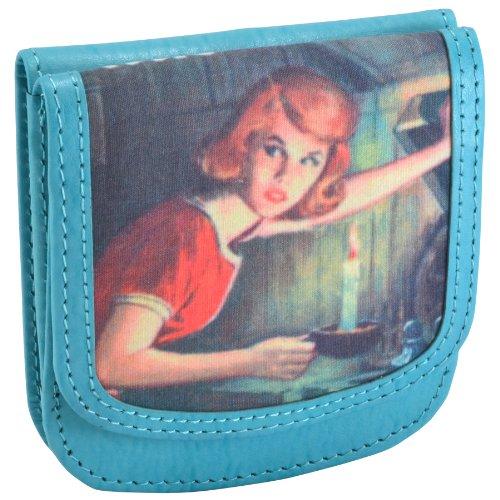 TAXI WALLET Nancy Drew Blue Small Recycled-Leather Folding Minimalist Card Wallet + Coin Purse (Wallet Drew Nancy)