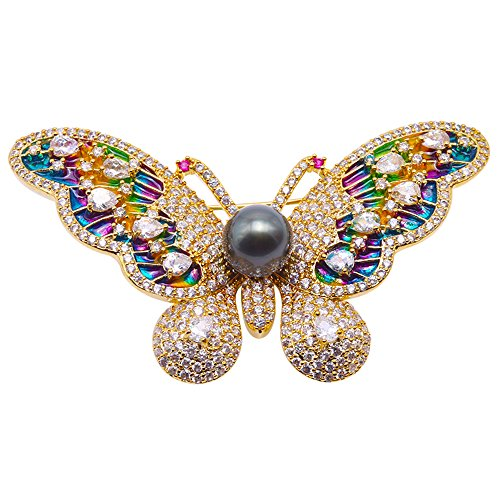 - JYX Pearl Luxurious Butterfly Brooch 9mm Peacock Green Tahitian Cultured Pearl Brooch Pin