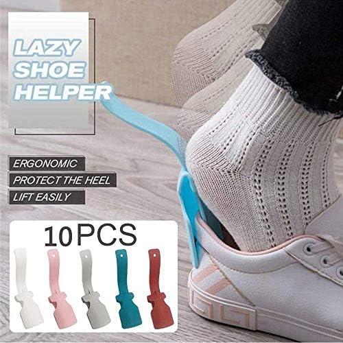 Liroyal シューズリフティングヘルパーイージーオンイージーオフ プラスチックシューホーン(男性用) ハンドル付き靴べら 女性と子供用 すべてのシューズにフィット レイジーシューズヘルパー 10ピースポータブルソックススライダー Multi one size