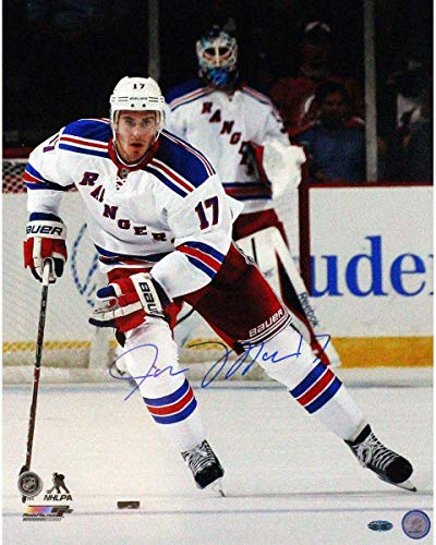 - John Moore New York Rangers White Jersey Signed Vertical 16x20 Photo - Steiner Sports Certified - Autographed NHL Photos
