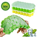 #3: Ice Cube Trays,Wattly 2 Pack Food Grade Silica Gel Flexible and BPA Free 74 Cubes Ice Trays with Lid Stackable Mini Cocktail Whiskey Ice Cube Mold Storage Containers-Green/Yellow
