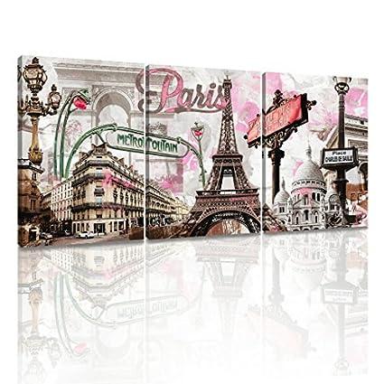 Decor MI Modern Wall Art Pink Paris Eiffel Towel Decor Romantic City  Paintings Poster Prints On