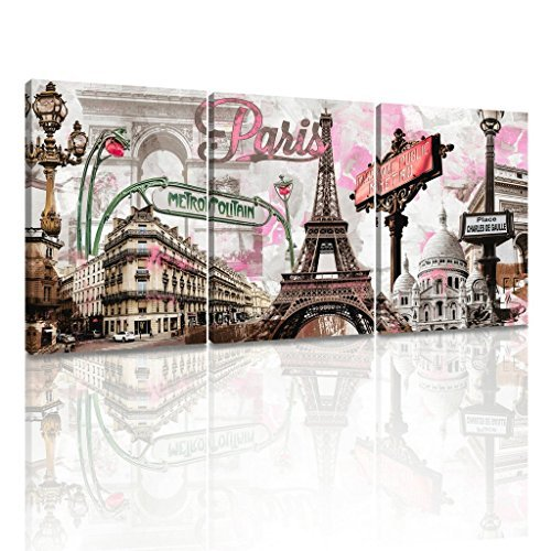 Decor MI Modern Wall Art Pink Paris Eiffel Tower Bedroom Decor Romantic City Paintings Poster Prints On Canvas Framed for Living Room 12x16 inch 3 Panels (Paris Bedroom Decor)