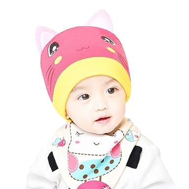 243a1c66fe9 ALCYONEUS Cartoon Cat Ears Baby Boys Girls Cotton Knitted Beanie Hat  Triangle Towel Set  Amazon.co.uk  Clothing