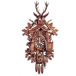 Original Eight Day Movement Musical Cuckoo Clock with 2 Songs and Double Door 44 Inch