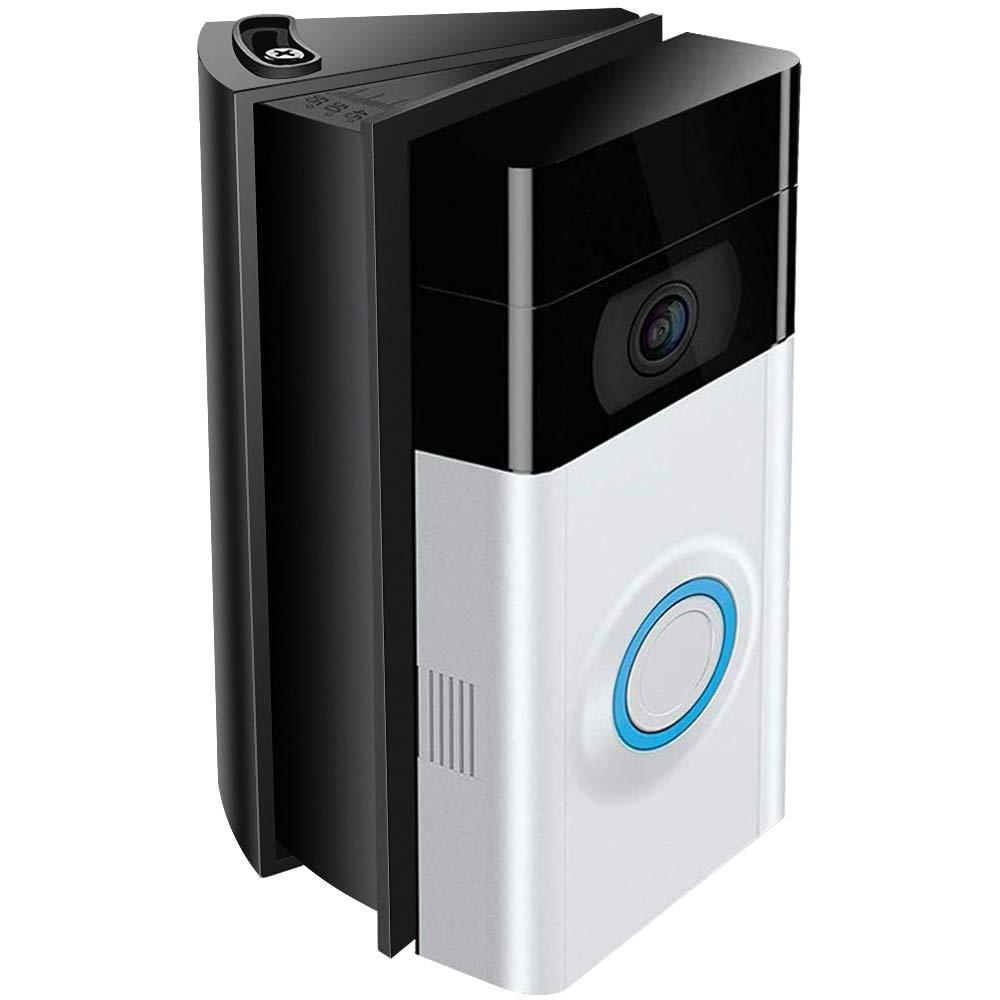Montaje en ángulo ajustable Compatible con Ring Video Doorbell 2 / Timbre de video con Wi-Fi habilitado, QIBOX Bracket Kit de esquina / Adaptador de ajuste / Placa de montaje / Kit de cuña (solo para timbre 1 ° y 2 °)