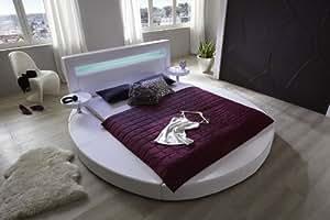 SAM® redondo cama Tangram en Uni Blanco 140x 200cm, incluye 2noche mesa estantes, cabecero con iluminación, diseño moderno