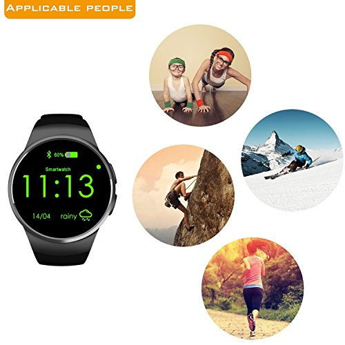 Amazon.com: Bluetooth Smart Watch Phone KW18 Sim And TF Card Heart Rate Reloj Smartwatch Wearable Compatible For IOS Apple iPhone 5s/6/6s/SE Android Samsung ...