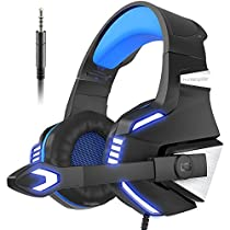 Gaming Headset for PS4 Xbox One, VersionTech Stereo Over Ear Noise Isolating Headphones with Mic, LED Light, Bass Surround Soft Memory Earmuffs for PC Laptop Mac Nintendo Switch Games-Blue