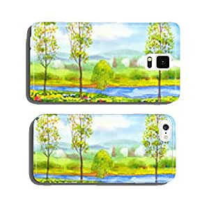 Young poplar trees on the river cell phone cover case Samsung S6