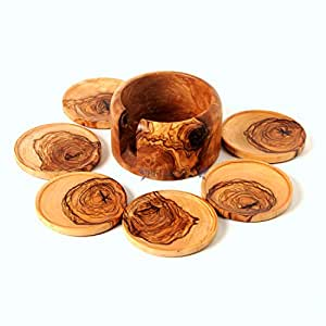 Sale! Hand Carved Coaster Set of 6 and Holder/ Handmade From Olive Wood: Round Coaster