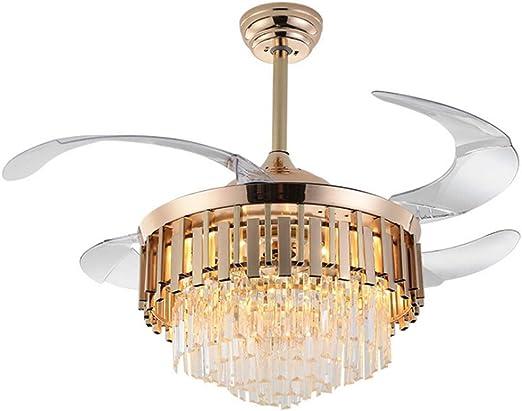 Habitacion Lampara Ventilador Techo 42 pulgadas de cristal Ventilador de techo de luz LED de atenuación de la lámpara de acrílico retráctil hoja ligera adaptables a la sala de estar Ventiladores para: