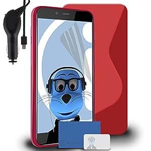 iTALKonline OnePlus X oneplusx TPU S Line Wave Hybrid Gel Skin Case Protección Jelly Tapa con 3capas Protector de pantalla LCD y 1000mAh Coiled Cargador de Coche LED pantalla y contra sobrecargas