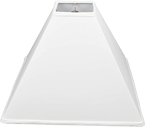 FenchelShades.com Square Lamp Shade 5 Top, 18 Bottom, 14 Slant Height White Linen Fabric