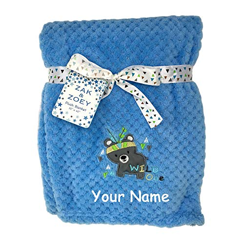 Zak & Zoey Personalized Wild One Bear Animal Plush Blanket for Baby Boy with Custom Name - 40 Inches