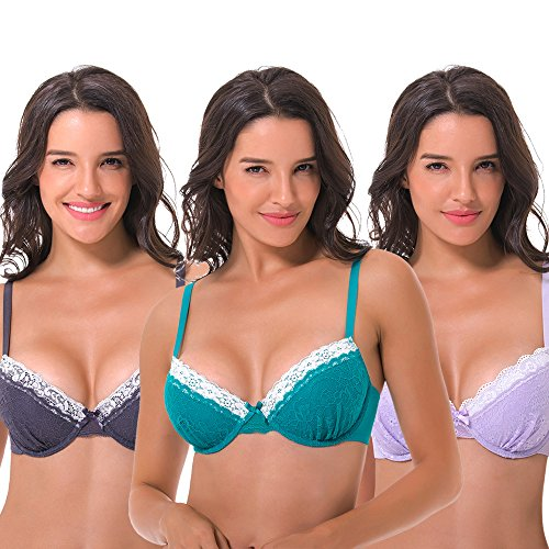 (Curve Muse Women's Plus Size Lightly Padded Balconette Lace Underwire Bra-3Pack-LAVENDER,Hunter Green,GRAY-44DDD)