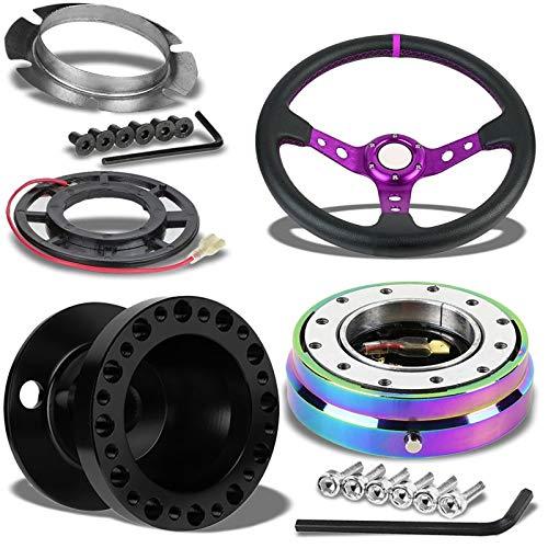 "350MM 3"" Purple Tri-Spoke/Purple Stripe Steering Wheel+Black 6-Hole Hub Adapter+Neo Chrome Quick Release For 626/RX7/RX8/Miata/Accent/Genesis"