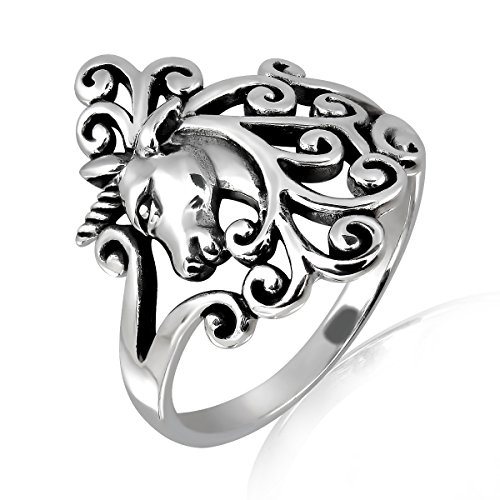 (WithLoveSilver Solid Sterling Silver 925 Charm Horse Unicorn Head Ring (9))