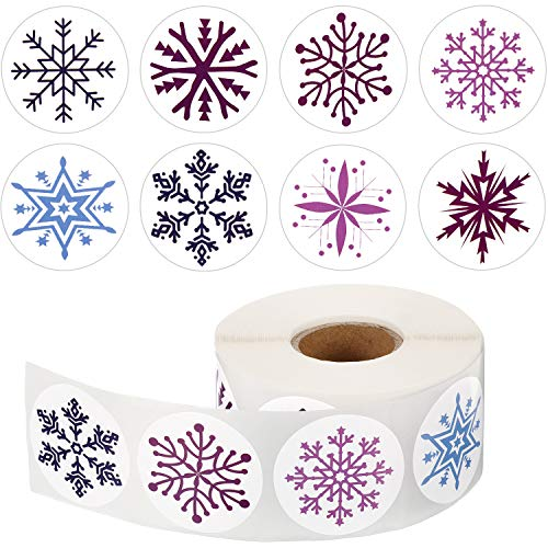 Outus 800 Pieces Snowflake Stickers Christmas Snowflake Decals Winter Snowflake Sealing Stickers Round Circle Labels for Christmas Decoration (1 Roll, 8 Styles)