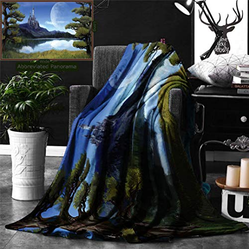 Ralahome Unique Custom Digital Print Flannel Blankets Fantasy Decor Moon Surreal Scene Riverside Lake Forest Medieval Castle On Super Soft Blanketry Bed Couch, Throw Blanket 60 x 40 Inches]()