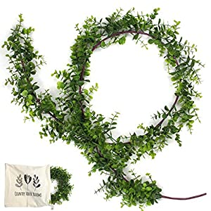 Eucalyptus Garland Greenery Decor with Custom Storage Bag: 6' Vine Garland for Home, Wedding and Event Decoration - Indoor and Outdoor Use - Rustic Wedding Decorations – Woodland Nursery Décor 1