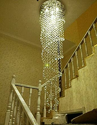 Getop modern led k9 crystal chandelier double spiral rain drop getop modern led k9 crystal chandelier double spiral rain drop chandeliers lighting crystal diemater 55 x height 180cm217709 stairs lighting fixture aloadofball Images